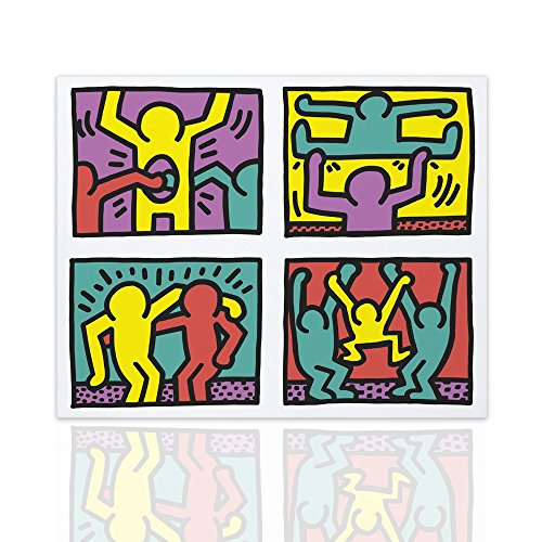 Declea Decorazione Murale Tributo Keith Haring Pop Shop Quad - Quadro arredo casa Pop Art Dipinto su Tela Pronto da Appendere - Disponibile in Varie Dimensioni