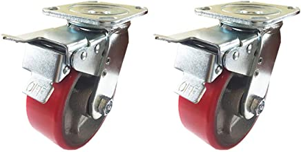 "4/"" x 2/"" Polyurethane On Cast Iron - Rigid 2EA 2EA // Swivel with brake Red"