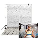 Allenjoy 5x7ft Fabric White Brick Wall with Gray Wood Floor Photography Backdrop Cloths Newborn Baby Photoshoot Child Kids 1st Birthday Cake Smash Photo Background Photographer Props