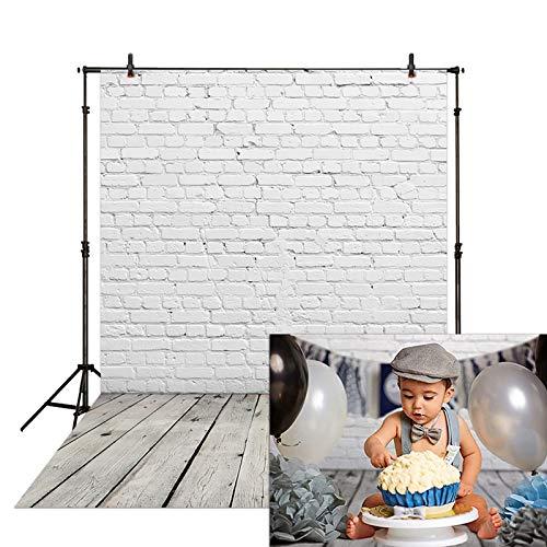 Allenjoy 5x7ft Fabric White Brick Wall with Gray Wood Floor Photography Backdrop Newborn Baby Photoshoot Child Kids 1st Birthday Cake Smash Photo Background Photographer Props