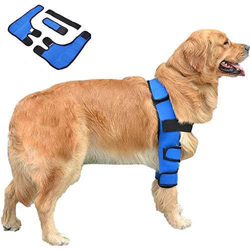 01 Vorbein-Orthese für Hunde, Haustier-Knieschoner, Beinschutz, Rehabilitationsabdeckung, Hunde-Ellenbogengelenk-Heilbandage, für chirurgische Verletzungen des Hundes. (Blau)