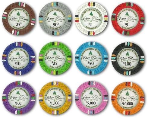 Bluff Memphis Mall Canyon 14gm Clay Poker Chip Omaha Mall Chips 12 Sample New Set -
