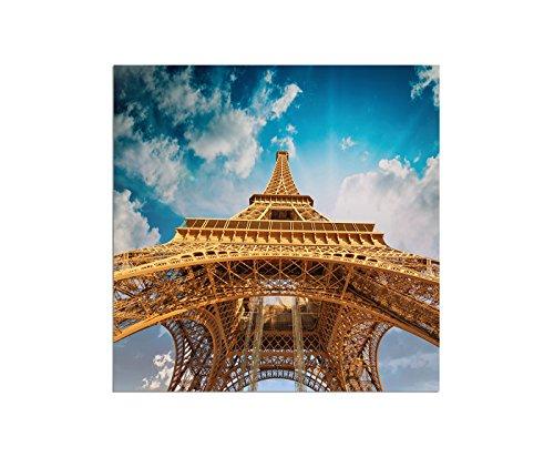 80 x 80 cm - Tour Eiffel France Paris Ciel - Image sur châssis moderne et élégant - Images et décorations