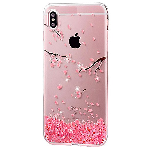 Sycode Étui Transparent Rose Fleur de Cerise avec Interne Brillant Bling Diamant Strass Motif Ultra Mince Gliter Strass Coque Housse pour iPhone X