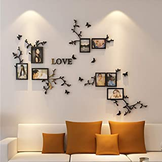 Simple 3D Couple Flower Vine and Photo Frame Detachable Art Wall Stickers for Warm Family livingroom,Sofa Backdrop TV Wall Background Beautiful Applique Wall Art Mural,Easy to Paste Without Falling