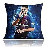 Throw Cushion Funda De Cojín De La Superestrella del Fútbol Luis Suárez Adecuado para Muebles, Oficina, Ocio Terciopelo 40 * 40Cm / 16 '* 16'