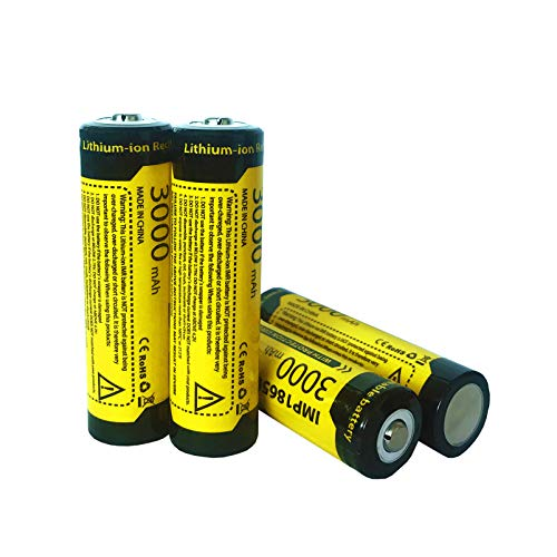 Rechargeable 18650 Battery, Button Top 3.7V 3000mAh Battery Cell -4 Pack for 18650 Flashlight (NOT AA/AAA/Flag Top Battery)