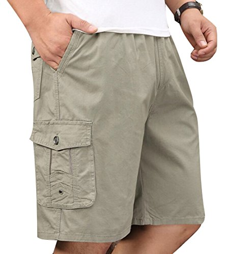 Men's Full Cotton Full Elastic Waist Drawstring Performance Baseline Cargo Short Khaki 40