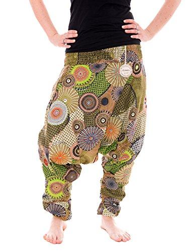 Vishes – Alternative Bekleidung – Haremshose aus Baumwolle - Bedruckt und Bestickt - Lange Einheitsgröße 36-44 (Olive)
