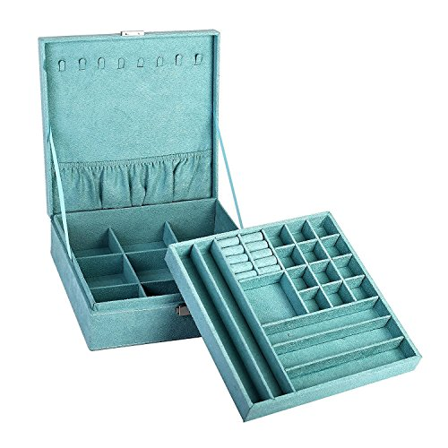 """First to act tactical Two-Layer lint Jewelry Box Organizer Display Storage case with Lock (Blue, 10.2"""" x 10.2"""" x 3.2"""")"""