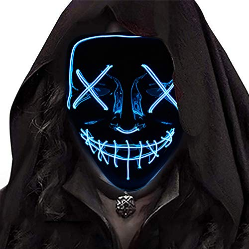 Ansee Scary Mask Halloween Cosplay Led Costume Mask El Wire Light Up Mask for Festival Parties (Blue)