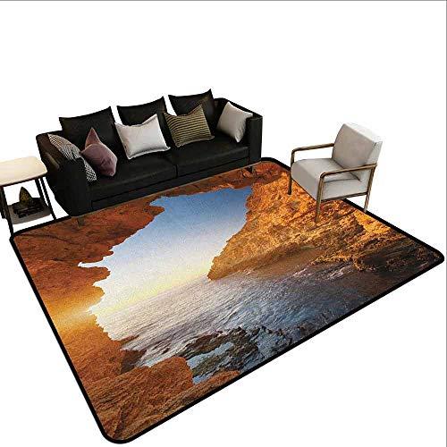 MsShe Square tapijt Strand, Silhouet van Sexy Vrouw Liggend in een hangmat bij Majestic Sunset View Dream Print, Verbrand Oranje