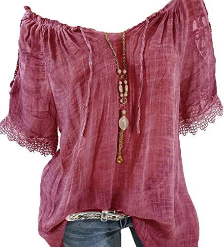 Rolanscia Damen Damen Bluse Rote Bluse Shirt Damenblusen für Sommer Elegant Festliche Shirts Stickerei Kurzarm Freizeit Lose Wein rot L