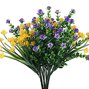 XYXCMOR 4Pcs Fake Flowers Plants Outdoor UV Resistant Faux Plants Plasitc Flowers Shrubs for Gravesite Cemetery Farmhouse Indoor Outside Hanging Planter Window Box Decor Yellow and Purple