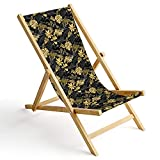Ferocity Tumbona de Madera Plegable, Silla de Playa con Funda Intercambiable, diseño Palma de Oro 1 [119]