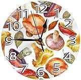 LDKAIMLLN Co.,ltd Reloj de Pared Grande Reloj de Pared Redondo Reloj de Pared de Acuarela Setas y Hojas Reloj de PVC Reloj silencioso Reloj de Pared Circular Decorativo