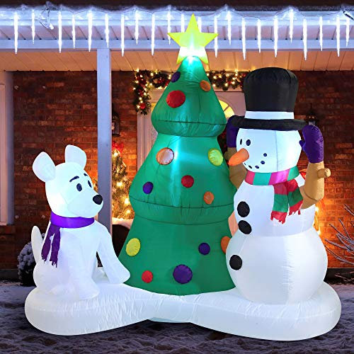 6 FT Tall Christmas Inflatable Decoration Snowman with Christmas Tree Inflatable with Build-in LEDs Blow Up Inflatables for Xmas Party Indoor, Outdoor, Yard, Garden, Lawn, Winter Decor, Holiday Season