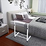 ZHOU2# Bedside Table Mobile Medical Overbed Table, Student Small Computer Desk Writing Home Office Bed Laptop Desk Sofa Side End Table Adjustable Hight with Wheels for Small Space (Red)