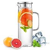 Jarra de agua de vidrio Ehugos, Jarra de vidrio de 45 oz con jarra de jugo de jarra Jarra de agua Jarra para agua caliente/fría, té helado y bebidas de jugo
