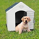 LONABR Plastic Outdoor Dog House with Door for Pet Weatherproof Kennel Small to Large Size,Blue & White (M-31.5