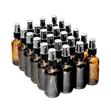 The Bottle Depot | 4 colors Available | Empty 2 Oz Amber Glass Boston Round Bottles With Spray 24 Pack | Durable & Refillable Bottle For Essential Oils, Liquids & Aromatherap (Clear Amber)