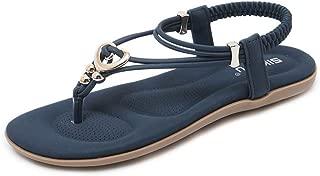 Super bang Women's Flat Thong Sandals Bohemian Slip on Flip Flop T-Strap Sandal