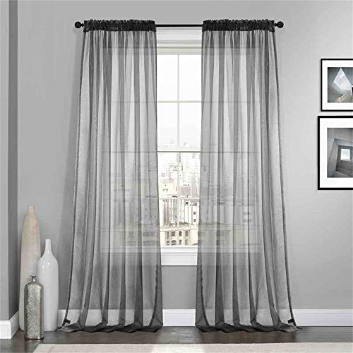 """Dreaming Casa Grey Solid Sheer Curtains Voile Window Treatment Draperies 52"""" W x 96"""" L 2 Panels Rod Pocket"""