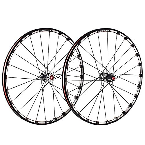 Mountain Bike Wheelset 26/27.5/29 Inches Double Wall Alloy Rim Disc Brake Sealed Bearing Carbon Fiber Hub QR 7/8/9/10 /11 24 Hole (Color : Black, Size : 26in)