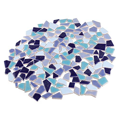 MILISTEN 200G Azulejos de Mosaico de Chips Triturados Piedras de Mosaico de Cristal Piezas de Confeti para Fiesta DIY Artesanía Decoración Azul