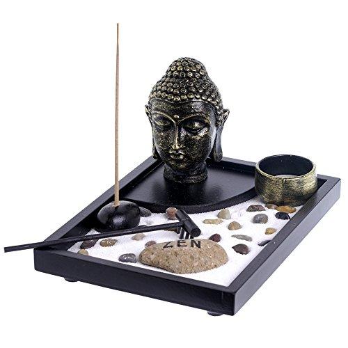 Jardín Zen Buda cabeza figura estatua Zen piedra natural piedra arena blanca...