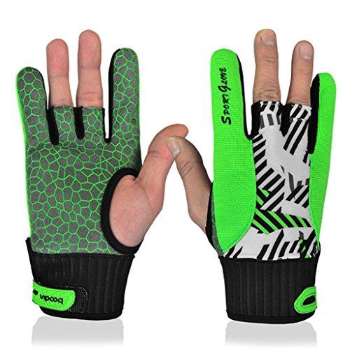 Alkyoneus professionelle Bowling-Handschuhe für Damen und Herren, rutschfeste Silikon Unterseite, angenehm zu tragen, VBPAZKSFAZA210, grün, Large