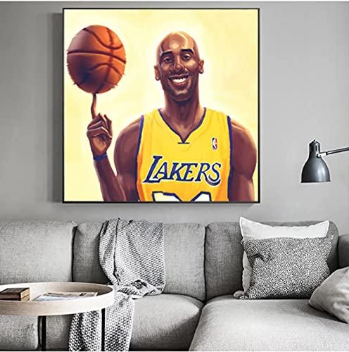 Weiqiaolian Pintura al óleo sobre lienzo de la NBA, diseño de baloncesto de la NBA, póster y impresión de pared de deportes, regalo para niños, decoración del hogar (60 x 60 cm), sin marco