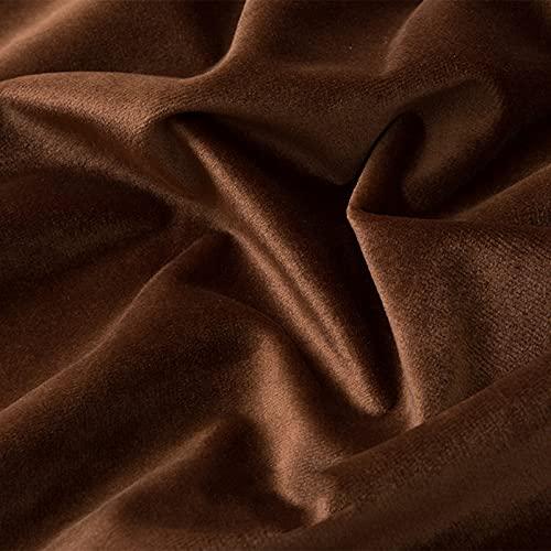 FFJD Telas Costura- Tela De Terciopelo De Estiramiento 59 '' De Ancho, Tela De Terciopelo por El Medidor(Color:marrón)