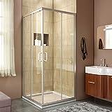 ELEGANT 36'' D. x 36'' W. x 72'' H. Corner Sliding Shower door Double Opening Shower Enclosure, 2 Stationary Panels 1/4'' Clear Glass Shower Door, Brushed Nickel