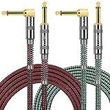 Cable Guitarra Eléctrica 3 Metro, OTraki 2 Pack Jack Cable Instrumento 10Ft 6.35mm Jack de Forma L a Ángulo Recto Chapado en Oro Cable Audio para Guitarra Bajo Teclado Efecto Micrófono Mezclador