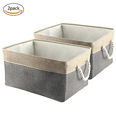 Collapsible Storage Bins, IdealHouse Foldable Canvas Fabric Large Storage Baskets Cubes With Cotton Rope Handles for Kid's Toys Laundry Books[2-Pack]
