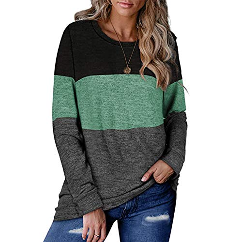 Damen Patchwork Color Block Tunika Rundhals Langarm T-Shirts gestreifte Kausale...