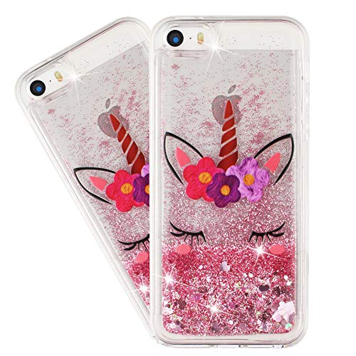 HMTECHUS iPhone 5S Case for Girl Glitter Liquid Sparkle Floating Shiny Quicksand Clear Soft TPU Silicone Shockproof Protective Bumper Thin Cover for iPhone 5 / 5S Bling Eyelash Unicorn XY