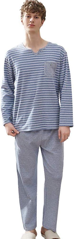 FMOGG Mens Pyjama Set Cotton Loungewear Long Sleeve Stripe Top & Pants Pj Set Sleepwear Nightwear