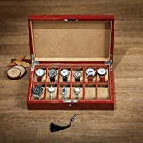 Organizadores y cajas para joyas Caja de reloj de joyería de madera Caja de exhibición de la colección de reloj de 12 bits Caja de joya de pintura para piano Con cerradura y 12 almohadas de almacenami