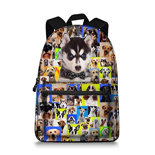Animal Backpack - BullDog/Husky/Border Collie Designs Canvas Bag