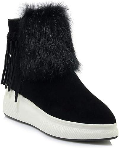 Yanyan Bottines pour Les Les dames Bottes d'hiver en Cuir Bottes de Neige en Cuir Chaussures à Plateforme Chaussures à la Mode Bottes en Coton Moelleux Bottes pour Les Les dames