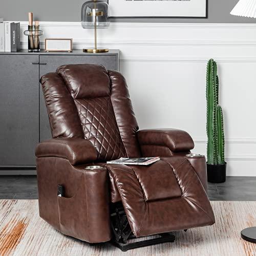 Power Lift Stuhl – Elektrisches Massage-Liegesessel mit Wärme & Vibration, Anti-Rutsch-Stoff-Massage-Sofa Wohnzimmer Lift Stuhl mit Seitentasche und Getränkehalter für ältere Menschen (Braun)