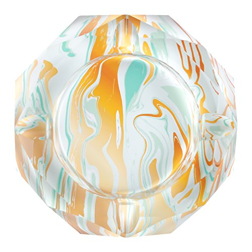 Kufox Marbling Crystal Cigarette Ashtray, Colorful Octangle Shape Glass Ash Holder Case with 4 Grooves, Decorative Tabletop Smoking Ash Tray for Indoor and Outdoor (Light Green Marbling)