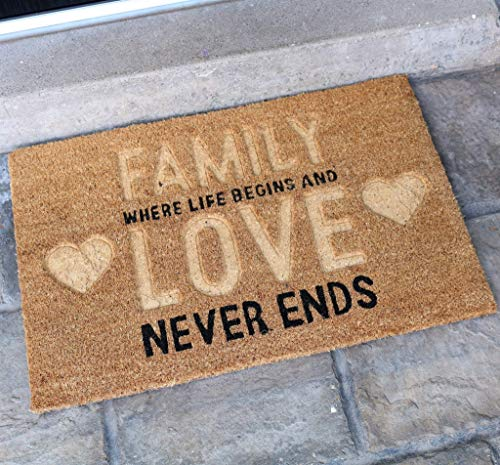 Maravi Pyaar Relieve Love Felpudos - 2 Diseños - Familia Amor, 60cm x 40cm