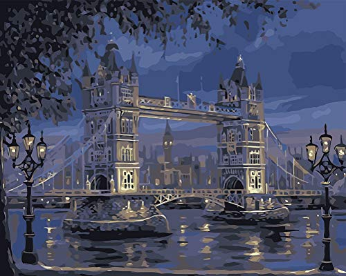 Suntown Malen nach Zahlen 40 x 50cm DIY Leinwand Gemälde für Erwachsene und Kinder mit 3 Bürsten und Acrylfarben - London Turm Brücke (Nur Leinwand)