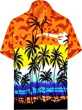LA LEELA Men's Vintage Palm Tree Beach Camp Short Sleeve Hawaiian Shirt M Orange_W138