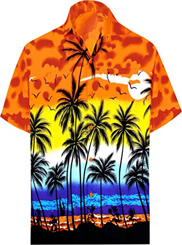 LA LEELA Funky Camisa Hawaiana Señores XS-7XL Manga Corta Bolsillo Delantero impresión De Hawaii Playa Playa Fiestas, Verano y Vacaciones Calabaza Naranja_W138 L