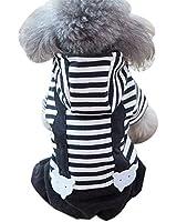 かわいい厚い秋と冬のペット犬の服、モノクロストライプ