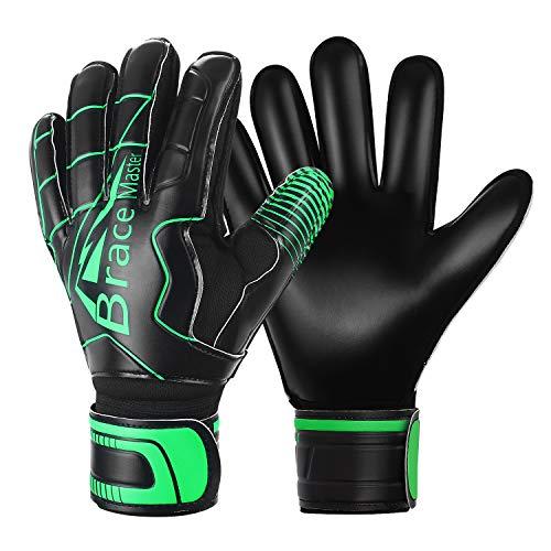 Brace Master Torwarthandschuhe mit Fingerschutz,Protect & Super-Grip 3+3MM Handflächen Fussball Torwarthandschuhe Kinder Herren & Erwachsene - Diverse Größe und Farben